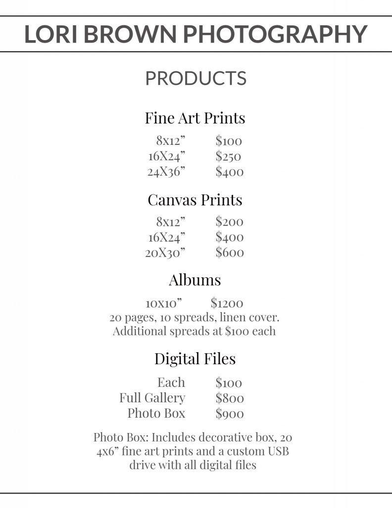 Lori Brown Photography Kelowna Product Pricing