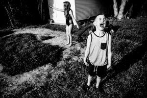 Little boy in kelowna screaming in back yard